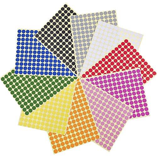 1650 Bunte Klebepunkte - 10 verschiedene Farben