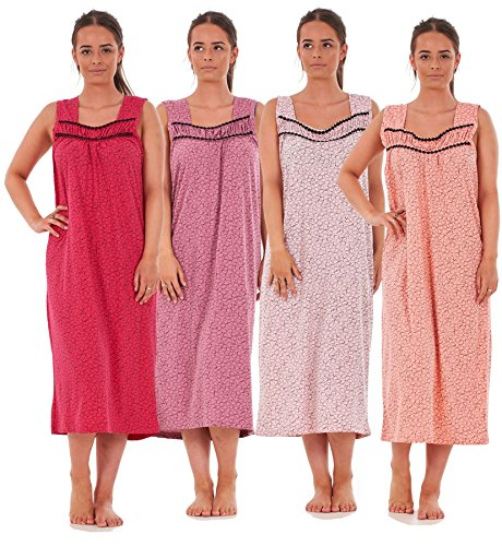 Bay eCom UK Ladies Nightwear Heart Polka Print 100% Cotton Sleeveless Long Nightdress M-XXXL