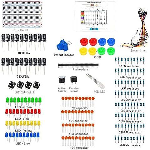 Sanzo® Starter Kit per Arduino basetta, Resistore, Condensatore in ceramica, passivo Buzzer Attivo cicalino, RGB LED, Pin intestazioni, jumper Wire, Potenziometro