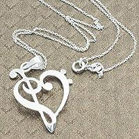 Collar de Plata de 1ªLEY 925. Cadena con chapa corte laser nota musical. Corazón clave de sol y de fa. Colgante amor a la música