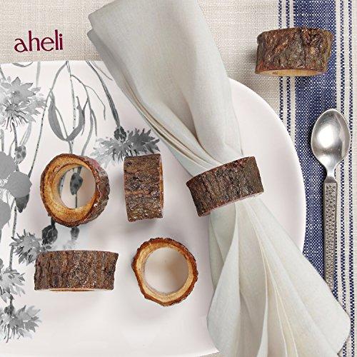 Aheli fabriqué à la main en bois rustique Lot de 6 ronds de serviette de table pour décoration de t