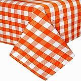 Homescapes Tischdecke Block Check orange weiß kariert 140 x 180 cm aus 100% reiner Baumwolle, Tischtuch waschbar