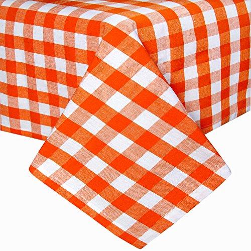 Homescapes Tischdecke Block Check orange weiß kariert 140 x 180 cm aus 100% reiner Baumwolle, Tischtuch waschbar - Block Check