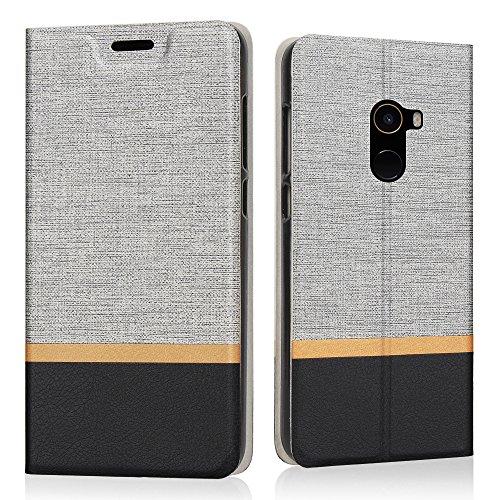 Preisvergleich Produktbild Xiaomi Mi Mix 2 Hülle, Riffue Dünnes Retro Denim Muster PU Leder Schutz Folio Schützende Abdeckung für Xiaomi Mi Mix 2 - Grau
