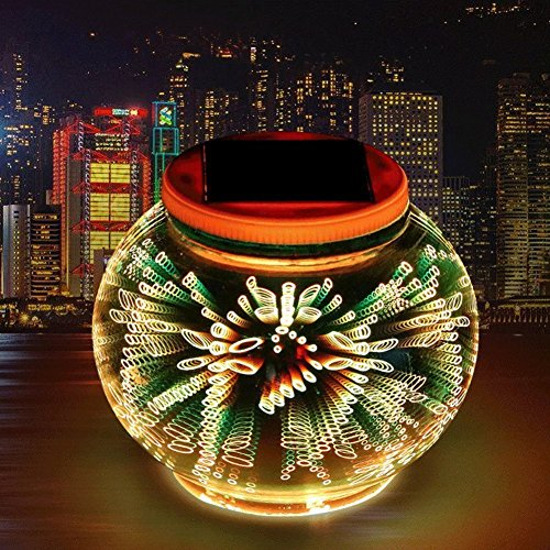 Solar 3D Night Lights, 3D Solar Outdoor Table Lamp Mosaic Night Light Color Changing Mosaic Solar Glass Garden Lights Waterproof for Outdoor Decorations
