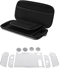 Segolike 7 in 1 Anti-Slip Clear Case Cover Skin Comfortable Grip Case +Thumbstick Caps +EVA Hard Shockproof Carry Storage Case Box For Nintendo Switch
