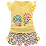 Babykleidung Kinder Kleinkind Mädchen Sommer Baby Bekleidungssets T-Shirt Kleidung Top + Hosen Set Outfits Kleidung Set Stirnband Trainingsanzug Kleidung (12Monat-3T) Xinantime