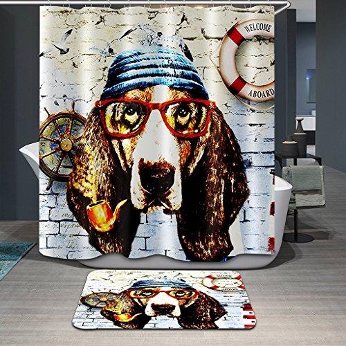 Polyester-Duschvorhänge, Bettwäsche 180cmX180cm vier Jahreszeiten Watermark-Vorhänge, wasserdichte Mehltau-Vorhänge, Trennvorhänge 71 x 71in (Glas-Hund) (Bettwäsche Wasserdicht Hund)