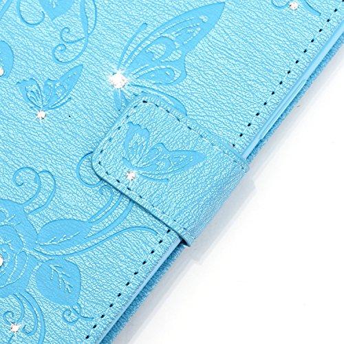 Hülle für iPhone 5s/SE Schmetterling,TOCASO Glitter Strass Bling Ledertasche Muster Weich PU Schutzhülle für iPhone 5/5S Flip Cover Wallet Case Tasche Handyhülle mit Lanyard Strap Stand Function Magne Schmetterling,Blau
