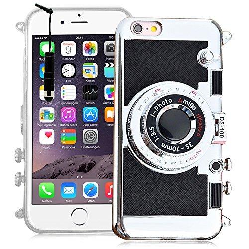 VCOMP® Camera case Coque Silicone TPU motif appreil photo élégant, support vidéo + mirroir pour Apple iPhone 6 Plus/ 6s Plus + stylet - NOIR NOIR + mini stylet