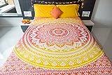 Folkulture - Juego de ropa de cama de colcha con fundas de almohada y un diseño de estilo bohemio con mandala para cama de matrimonio de tamaño queen size
