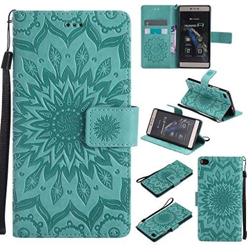 BoxTii Huawei P8 Hülle [mit Frei Panzerglas Displayschutzfolie], Huawei P8 Schutzhülle mit Kartenfächern, Premium Lederhülle für Huawei P8 (#1 Blume)