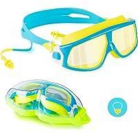 Lunettes de natation, lunettes de natation en miroir sans fuite, protection anti-buée UV vision à 180 degrés avec étui…