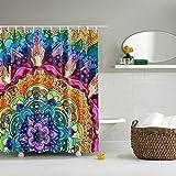 GWELL Anti-Schimmel Duschvorhang Blumen Digitaldruck inkl. 12 Duschvorhangringe für Badezimmer Art-B 180x200cm