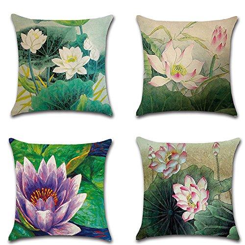 Huifengs lino copriletto cuscino copre piazza federa lotus decorativo per divani sedie cuscino set di 4letti, 45,7x 45,7cm