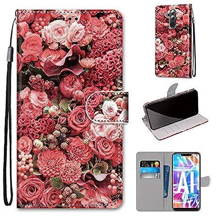 Miagon Flip PU Leder Schutzhülle für Huawei Y7 2018,Bunt Muster Hülle Brieftasche Case Cover Ständer mit Kartenfächer Trageschlaufe,Rose