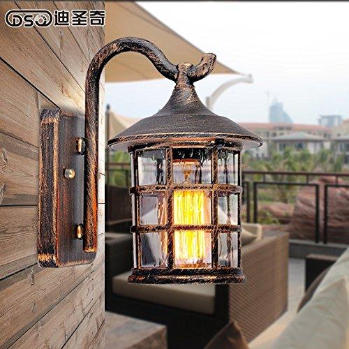 WEIAN Wasserdichte Aussenleuchte American Country Retro Flur Balkon Lampe Nachttischlampe regendicht Innenhof im Freien Stil