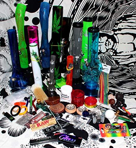 budawi- Headshop Set Junior - Wundertüte, Acrylbong, Chillum, Steckköpfe, Grinder, Pur-Pfeife, Papers, Mystery-Boxen, Percolator, ActiTube, Schmand-Weg, OCB ...