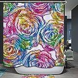 Beddingleer Duschvorhang Anti-Schimmel 180x200 cm Bunte Rosen Bad Duschvorhang textil Wasserdicht und Mildewproof aus 100% Polyester