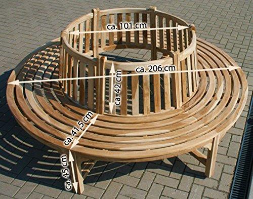 KMH® Baumbank mit Rückenlehne aus Teakholz - 2