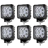 WIS 6 Stück Arbeitsscheinwerfer 27W Scheinwerfer LED Zusatzscheinwerfer Wasserdicht SUV ATV 2430LM Flutlicht Abstrahlwinkel 30 Grad Work Light für ATV, UTV, Offroad, Bagger
