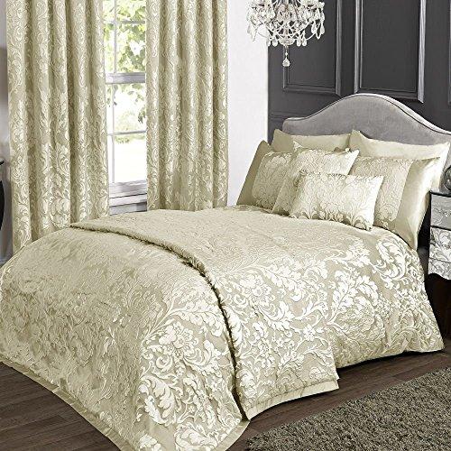 kliving Luxus Charleston Creme Jacquard Bettwäsche Collection (Bettbezug, Tagesdecke, Boudoir Kissenbezug, und Vorhänge erhältlich, separat erhältlich), beige, Super King Duvet Cover Set -