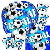 60-teiliges Party-Set Fußball blau - Teller Becher Servietten für 20 Personen