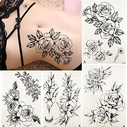 MRKAL Wasserdichte Skizze Tattoos Temporäre Frauen Sexy Körper Taille Arm Gefälschte Blume Tatoos Aufkleber Mädchen Daisy Rose Kunst Tattoo Paste 21X15 cm