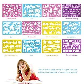 BESTOYARD 12 Stücke Kinder Zeichenschablonen, Malen Pädagogische Spielzueg Zeichenset für DIY Scrapbooking Handwerk