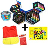 Childrens 52 Pcs Craft Art Artists Colouring Drawing Set Hexagonal Box Crayons Paints Pens Pencils And A Silvine Popular Drawing Pads And A Paint Smock - GREAT VALUE - GREAT PRODUCTS