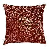 Mesllings 2019 Funda de cojín, diseño de Mandala Oriental, Estilo marroquí étnico, Cuadrado, Decorativo, 45,7 x 45,7 cm, Color Granate Dorado
