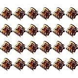 24 Stück Mini Haarspangen Kunststoff Haargreifer Pins Schellen für Mädchen und Damen (Braun)