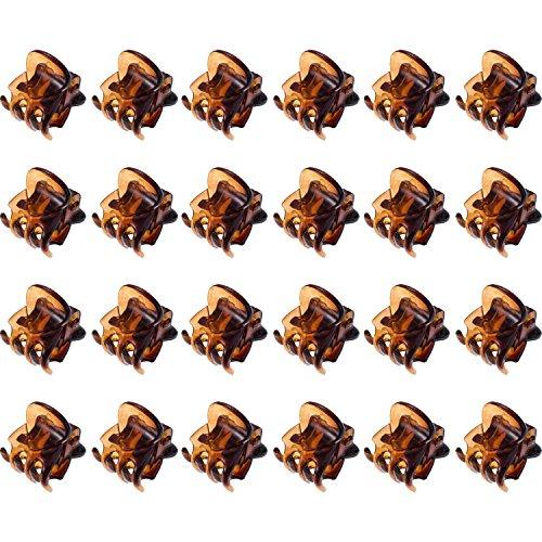 24 Piezas Mini Clips de Pelo Garras de Pelo de Plástico Pinza de Pelo para Chicas y Mujeres (Marrón)
