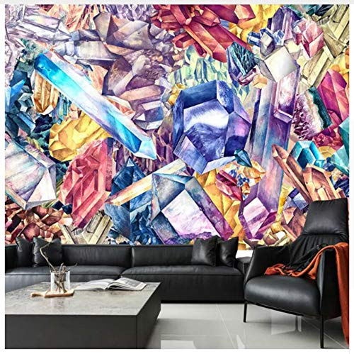 Hand Painted Watercolor Diamond Crystal Mural Tapeten For Living Room Backdrop Walls Painting Modern Simple Tapetens 3D 400X280Cm,Ayzr - Hand-woven-diamond