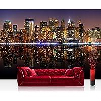Papel Pintado Fotográfico 350x 245cm Premium Plus–Papel pintado fotográfico pared de pintado de–New York Lights Skyline–New York City Estados Unidos Empire State Building Big Apple–No. 020