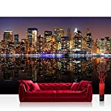 Vlies Fototapete 300x210 cm PREMIUM PLUS Wand Foto Tapete Wand Bild Vliestapete - NEW YORK LIGHTS SKYLINE - New York City USA Amerika Empire State Building Big Apple - no. 020
