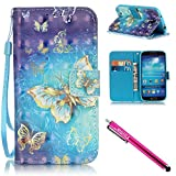 Galaxy S4 Hülle, Flip PU Leder Tasche Bookstyle Cover Case