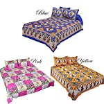 Set of 3 double bedsheets individual price dbs080 = inr 999 699/- dbs037 = inr 999 699/- dbs137 = inr 999 499/- these exquisite indian bed sheet with jaipur prints are very special and adds a lot of richness to the décor of your room. The fast colors...