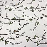Arvidssons Stoff Baumwollstoff weiß Vögel Weidenkätzchen