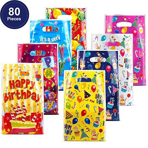80 Stücke Kunststoff Party Bevorzugung Beutel Geburtstag Geschenk Goody Taschen für Kinder Geburtstags Party Bevorzugungen Kuchen und Ballon Muster