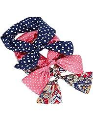 Butterme 3piezas lindo conejo oído diadema banda de pelo de bufanda pañuelo para la cabeza aro accesorio atar Twist para mujeres niñas Lady–gran regalo para Navidad