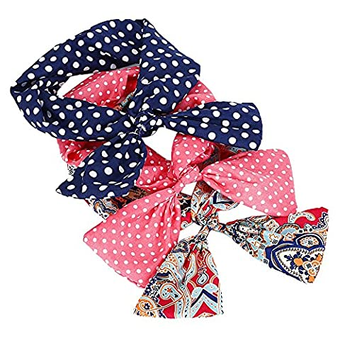 Butterme 3 Pcs Cute Bunny Rabbit Ear Headband Scarf Hair Band Head Wrap Hoop Accessory Tie Twist for Women Girls Lady - Great gift for Christmas