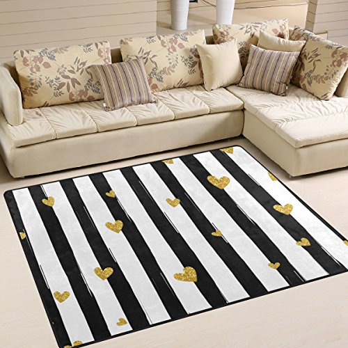 ingbags Super Soft Moderne Gold Herz gestreift, ein Wohnzimmer Teppiche Teppich Schlafzimmer Teppich für Kinder Play massiv Home Decorator Boden Teppich und Teppiche 160x 121,9cm (Gold, Läufer Teppich)