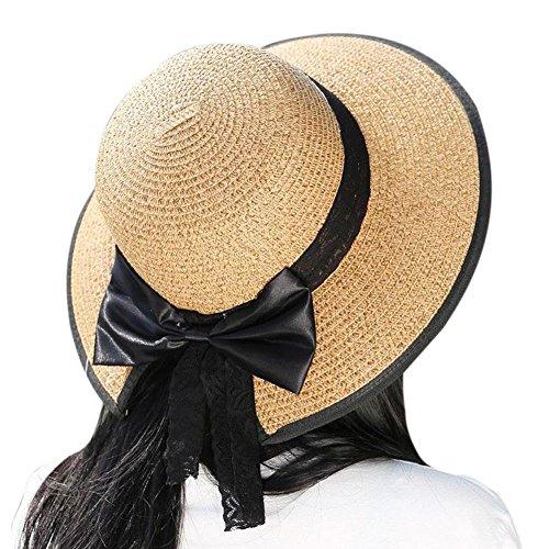 iBaste 2018 Nuevo Elegante Mujer Boho Pajarita Sombrero de Paja de Pla