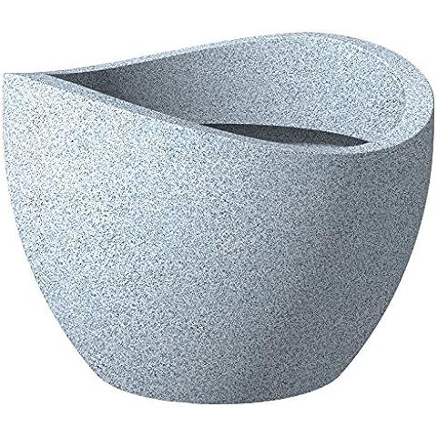 Scheurich - Wave Globe, Portavaso in plastica, effetto granito, colore: Grigio chiaro (Weiß-Granit), Ø 60 cm, altezza: 45 cm