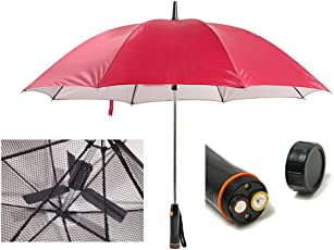 Desi Rang Polyester Men's and Women's No-Fold Semi Automatic Open UV Protected Umbrella with Fan, 48-inch(Maroon)