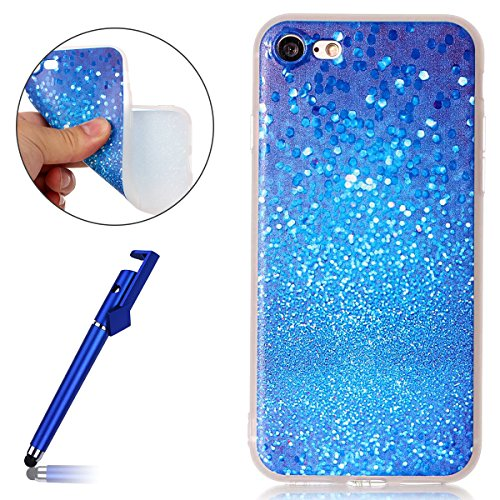 Cover per iPhone 7 4.7, Custodia iphone 8 Morbido, iphone 7 Custodia Silicone, MoreChioce Moda Funny Cute Fiore Animal Painting Colorato Custodia, Ultra Slim 3d Gel Soft Silicone Gomma Morbido TPU Tra Sabbia Blu