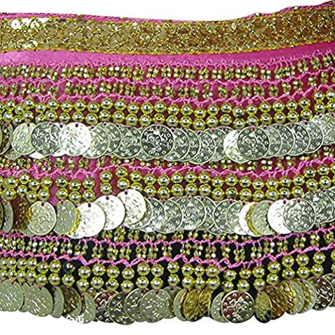 YuanDian Lady's Coins Plus Weight Belly Dance Waist Chain Hip Scarf National Dance costume Hip Scarf Skirt Belt Peach Red+Golden Coins