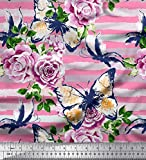 Soimoi Rosa Poly Krepp Stoff Streifen, Schmetterling & Rose