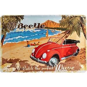 """Nostalgic-Art 22189 Plaque en métal """"Coccinelle Volkswagen à la plage"""" [en anglais] 20 x 30 cm"""